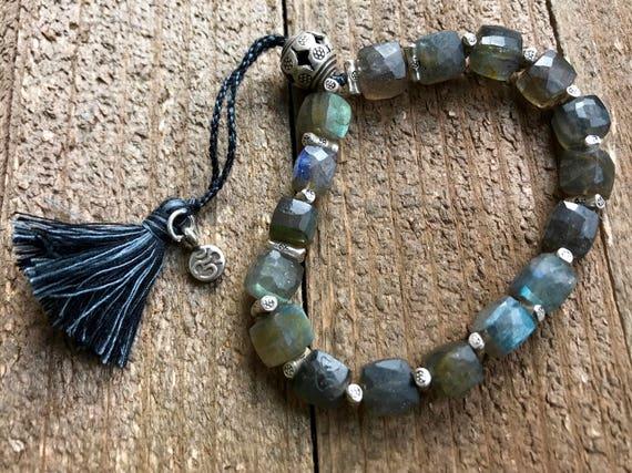Labradorite  Bracelet - Adjustable Labradorite Bracelet - Third Eye Chakra Jewelry - Tassel Bracelet - Yoga Jewelry - Boho Chic Jewelry