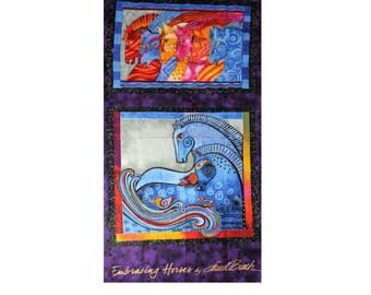 Laurel Burch Rare Oop EMBRACING HORSES Fabric Panel Brights