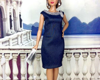 Curvy Barbie Doll Dress - Dark Navy Blue Dress with Silver Accents, Earrings, Purse, and Shoes
