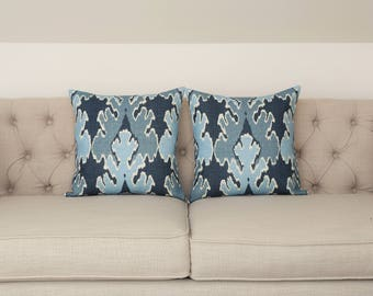 READY TO SHIP - Pair of Matching 17x17 Kelly Wearstler Bengal Bazaar Designer Pillows Cover in Teal