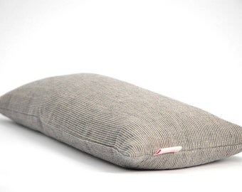 Small buckwheat pillow, linen pillow, travel pillow,  Neck pillow, Yoga pillow, Gray stripped linen,  8' x 16' (20X40cm)  Gray pillow