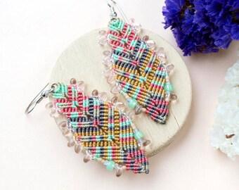 Bohemian feathers, micro-macrame earrings, pastels, beaded macrame jewelry, free spirit, boho chic, tribal, mint coral gray, lightweight
