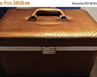 ON SALE - Vintage Gold Snake Skin Print Hard Shell Top Swivel Wrapped Handle with Silver Tone Hardware Interior Mirror