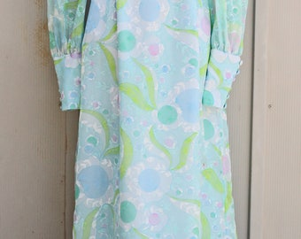 Pastel Maxi Dress - Psychedelic Floral Dress - Baby Blue Long Sleeve Dress - 60s Empire Waist Dress - 70s Prom Dress - Hippie Gown - Boho
