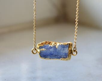 Kyanite bar necklace, kyanite necklace, blue gemstone necklace, raw kyanite necklace, gold kyanite necklace