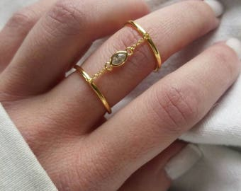 Double band gold cz ring, vermeil double cz ring, adjustable cz ring, gold double band ring, cz double band ring, gold band ring