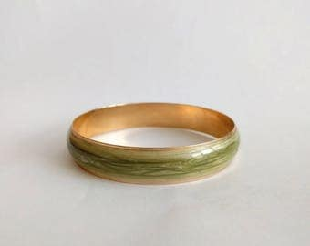 Vintage 80s Avon bangle green gold 1986 Pearlized swirl colored hippie boho beacelets
