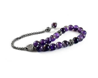 Komboloi, Worry Beads with Purple Amethyst Beads on Silver tone metal chain