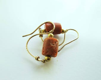 Antique Coral and Gold Earrings, Ancient Style, Roman Style, Italian Coral, Coral and Gold Drop Hoop Earrings, 'Swan' S-Shaped Earrings,