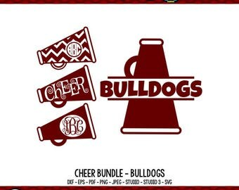 Cheerleader SVG Cheer SVG Bulldog SVG Megaphone svg Cheer Mom svg Cheer Mom Shirt Cricut Files Silhouette Files vector art svg bundle