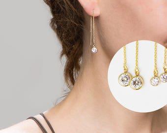 CZ Thread Earrings // Dangling Diamond Ear Threader // Threader earrings, gold statement hoops // Perfect Gift for Her