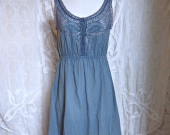Grey Lace and Cotton Dress