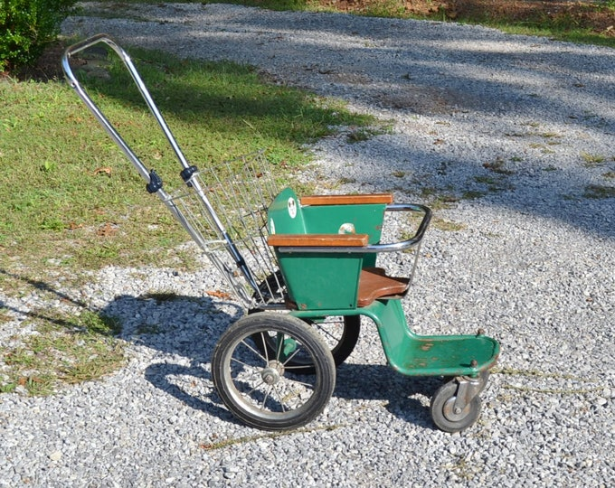 Vintage Metal Baby Stroller Green Wood Seat Carriage Buggy Coach  PanchosPorch