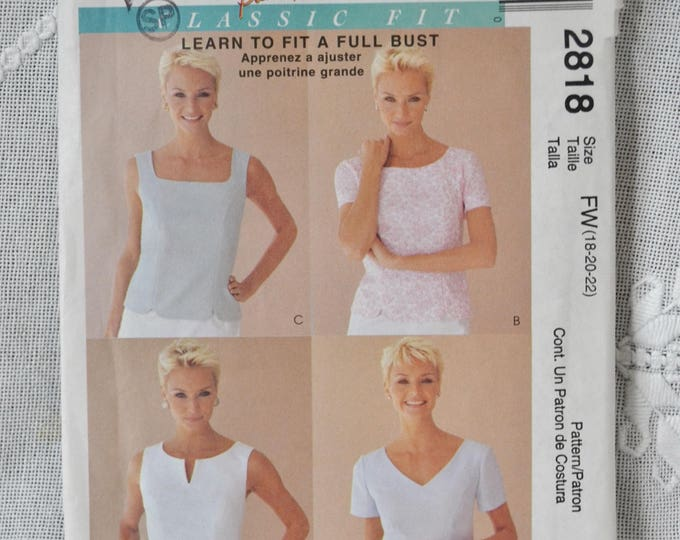 McCalls 2818 Sewing Pattern Misses Tops Size 18 20 22 DIY Fashion Sewing Crafts PanchosPorch
