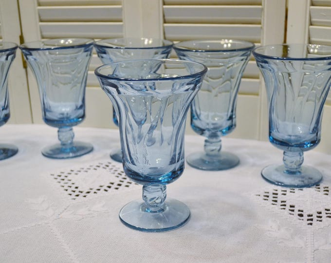 Vintage Fostoria Jamestown Blue Ice Tea Glass Set of 6 Light Blue Goblet Glassware Stemware PanchosPorch