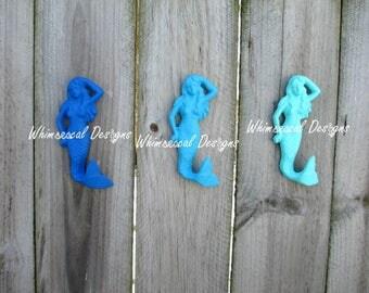 Set of 3, Cast Iron Mermaid, Mermaid Hook, Mermaid Decor, Mermaid Bathroom, Beach Decor, Nautical Decor, Coastal Decor