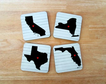 Custom State Drink Coasters - Personalized Map Coasters - Long Distance Friends, Birthday, Housewarming Gifts - Farmhouse Decor