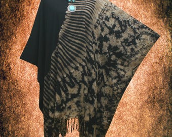 Bleach Effect Abstract Tie dye Fringe Beach Cover Up Poncho Top