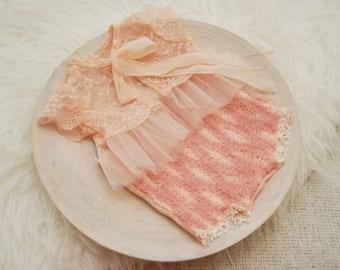 Newborn Set, Newborn Romper, Lace Top & Panties, Newborn Photo Prop, Newborn Prop, Baby Prop, Baby Outfit, Photo Outfit, Coral Pink, 019