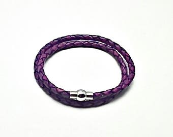 Pandora-style purple leather wrap charm bracelet. Double or triple wrap.silver Magnetic clasp. Fits Thomas Sabo, Pandora and European charms