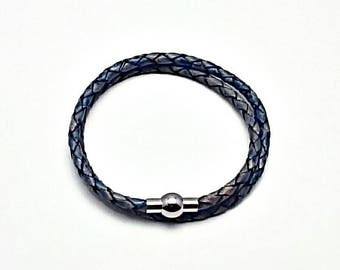 Pandora-style blue leather wrap charm bracelet. Double or triple wrap.silver Magnetic clasp. Fits Thomas Sabo, Pandora and European charms