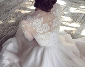 RAUZA / long sleeve lace wedding dress Bohemian bridal gown Rustic wedding dress Lace top modest dress Corset wedding dress