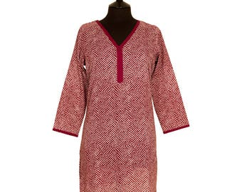 LONG KURTA TOP – All sizes – Style 2 - Burgundy Red Spot design – 100% lightweight cotton