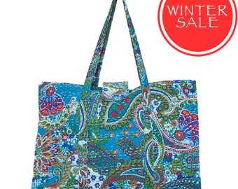 WINTER SALE - KANTHA Flower Bag - Turquoise Paisley - Large size