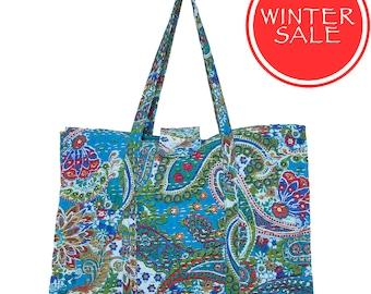 WINTER SALE - KANTHA Flower Bag - Turquoise Paisley - Large size