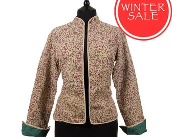 WINTER SALE - Small size - Short Kantha Jacket - Burgundy and beige. Reverse plain green