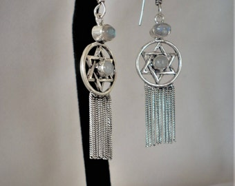 Sterling silver Star of David Moonstone Labradorite Chandelier Earrings***