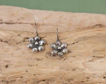 Flower Earrings, Sterling Silver Earrings