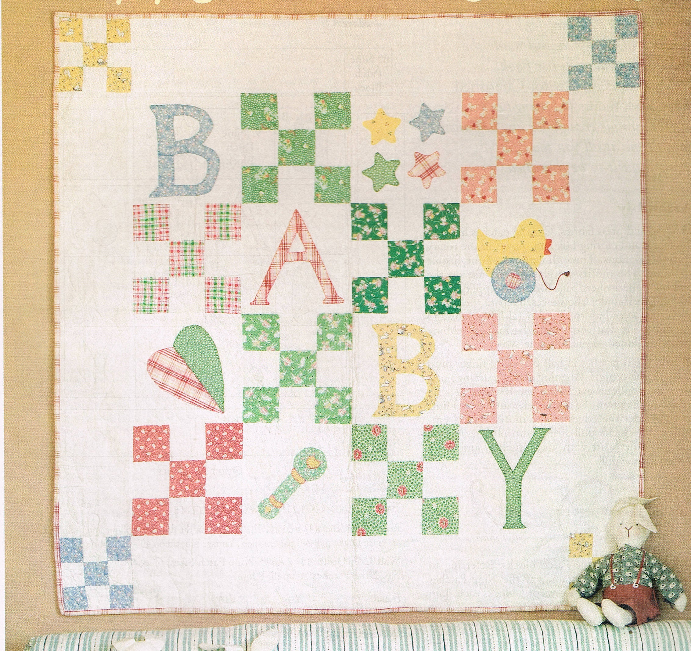 Quilt pattern 9 patch baby wall hanging quilt sewing pattern sold by busybeaverboutique jeuxipadfo Choice Image