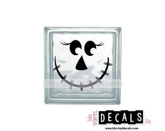 SCARECROW FACE - Halloween Vinyl Lettering for Glass Blocks - Fall and Thanksgiving Decals and Decorations