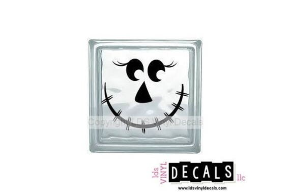 SCARECROW FACE Halloween Vinyl Lettering For Glass Blocks - Halloween vinyl decals for glass blocks