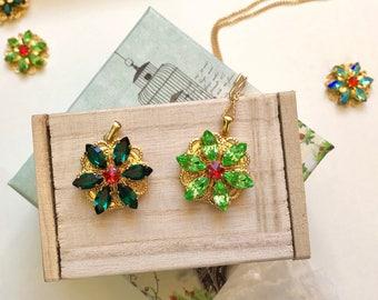 Together in Paris Anastasia Necklace - Swarovski Crystals - Handmade Replica Emerald Peridot Green - Mini Version