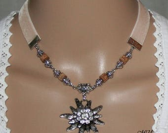 Velvet ribbon-beige-necklace-Edelweiss pedant