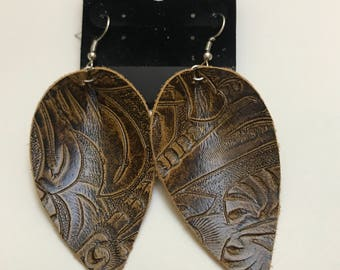Real leather earrings, leaf design, Joanna Gaines inspired