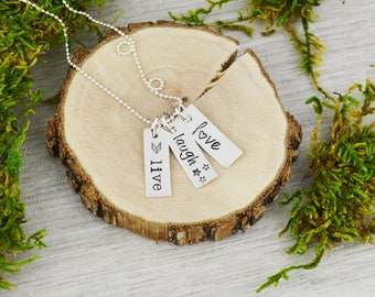 Live Laugh Love Vertical Bar Necklace - Custom Hand Stamped Jewelry