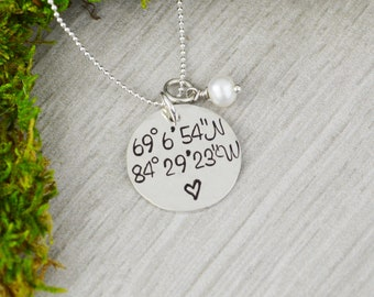 Custom Coordinates Necklace in Sterling Silver • Location GPS Coordinates, Latitude Longitude • Wedding orAnniversary Gift