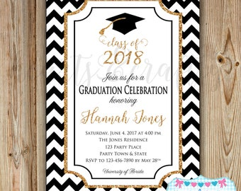 Graduation Party Invitation  - College Graduation Invitation - High School Graduation - Gold Glitter Sparkle - Class of 2018 DIGITAL FILE