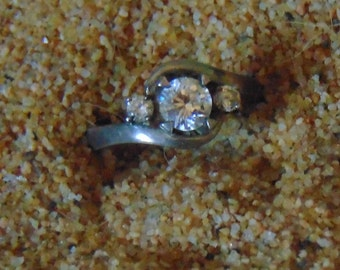 Vintage Sterling Silver and Cubic Zirconia Ring ....size 7 only