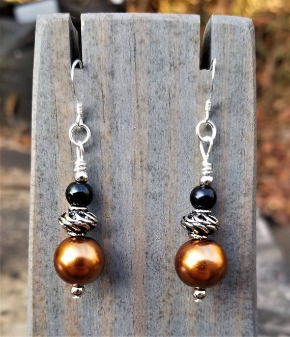 Elegant Bronze, Black & Silver Earrings