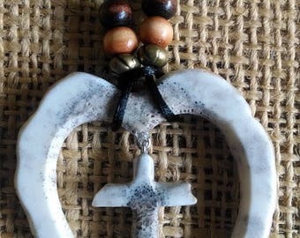 "Cross and Heart necklace made of Elk antler...tiny cross in a Valentine heart (about 1-3/4"" wide x 2"" long) natural, adjustable black cord"