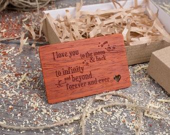 Wood Wallet Personalized Insert Card, gift-ready love phrase, boyfriend gift, Custom Wallet Insert love card, gift for dad, gift for him.