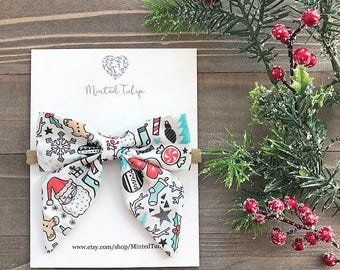 CLEARANCE Christmas Holiday Print Small or Large Sailer Bow on Nylon Headband or Hair Clip Baby Toddler Kids
