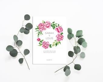 Peonies Wedding ceremony notebook cover - Wedding program - Wedding program notebook cover - Wedding - Peonies Wedding - Floral Wedding