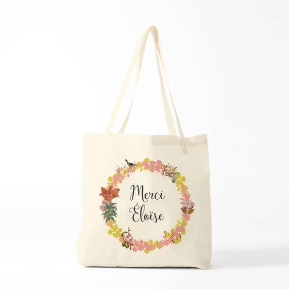 Tote Bag, Thank you Eloise, pink, name of your choice, birth gift, canvas bag name, custom tote bag, name on a bag, purse, groceries bag.