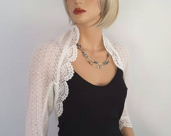 Made to order. Hand knitted Wedding Bridal Kid Mohair Ivory colour Shrug Bolero, 3/4 sleeves