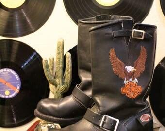 Vintage Harley Davidson Biker Boots 8
